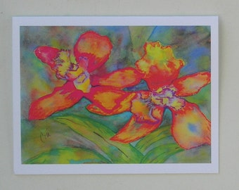 Orchids Flower Art Note Cards  By Cori Solomon