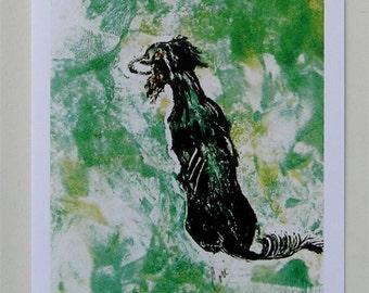 Black Saluki Tri-Colored Saluki Dog Art Note Cards By Cori Solomon