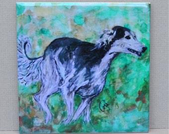 Grizzle Saluki Running in the Grass Dog Art Tile Coaster By Cori Solomon