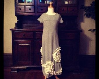 Little girls' jersey ruffled maxi dress and matching purse set