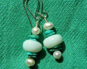 Peruvian Blue Opal, Turquoise and Pearl Earrings