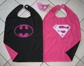 Reversible Batgirl Supergirl Superman Batman Pink Cape Mask Woman