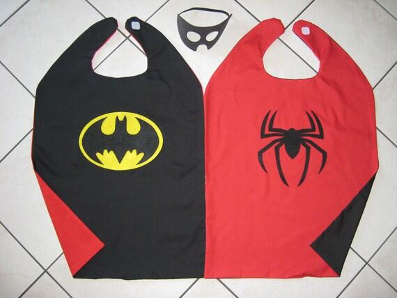 Reversible Batman Spiderman Halloween Costume Cape Boys Mask