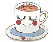 Enamel Tea Cup Brooch