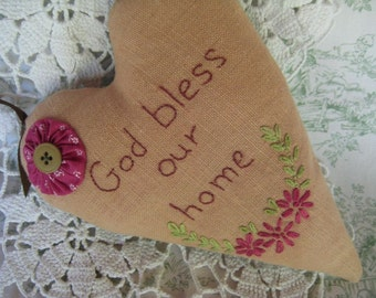 GOD BLESS Our HOME Heart Hanging Heart Blessing
