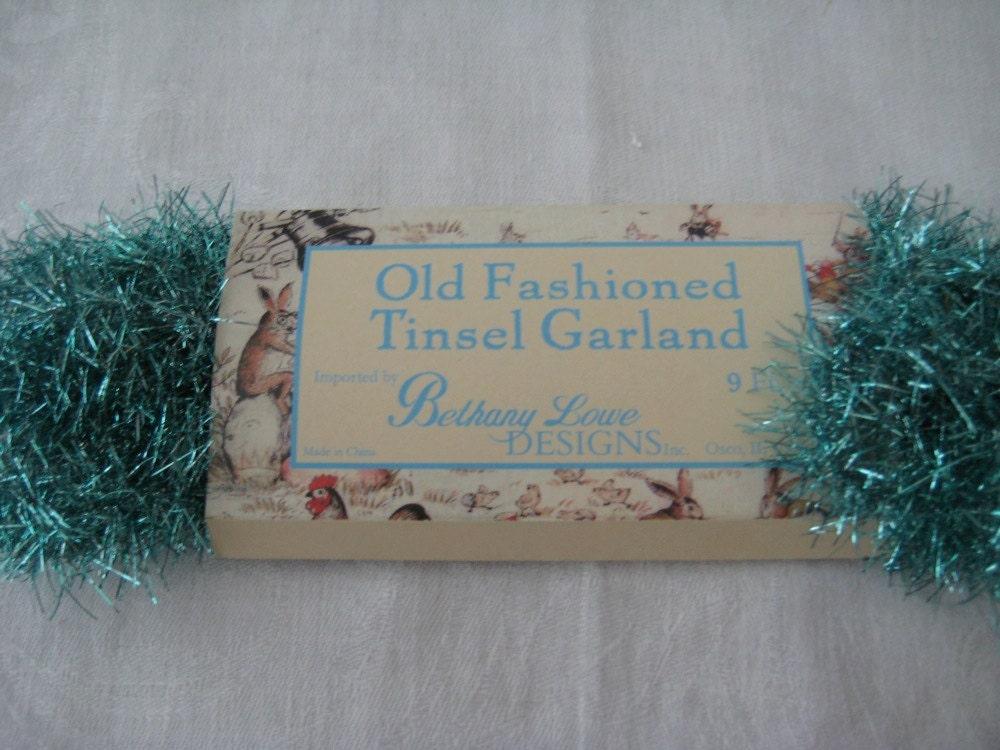 Bethany lowe old fashioned aqua tinsel garland