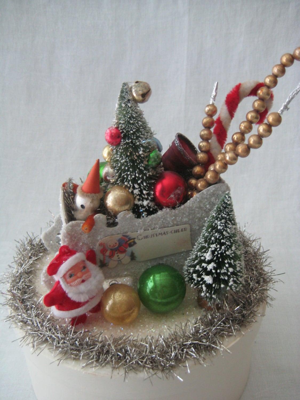 Christmas decoration santa in sleigh vintage winter