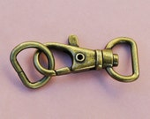 FREE SHIPPING--10 of 1.5 inch with 1/2 inch Loop End Anti Brass Swivel Clasps Lobster Claw Hooks and 10 of 1/2 inch Anti Brass D-rings