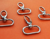 FREE SHIPPING--40 Silver/Nickel Swivel Clasps Hooks with 1 inch loop end