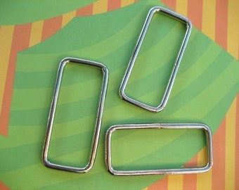 FREE SHIPPING--10 of 2 inches Non-Welded Silver/Nickel Rectangle Rings