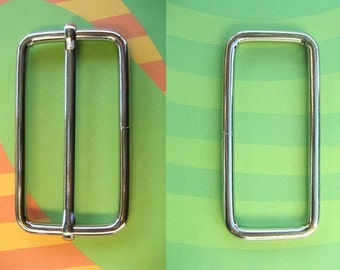 FREE SHIPPING--10 sets, 2 inches Silver Rectangle Strap Sliders and 2 inches Silver Rectangle Rings