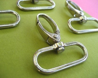 FREE SHIPPING--20 Silver/Nickel Swivel Clasps Hooks with 1 1/4 inch loop end
