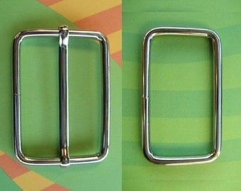 FREE SHIPPING--40 sets, 1.5 inches Silver Rectangle Strap Sliders and 1.5 inches Silver Rectangle Rings