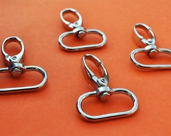 FREE SHIPPING--20 Silver/Nickel Swivel Clasps Hooks with 1 inch loop end