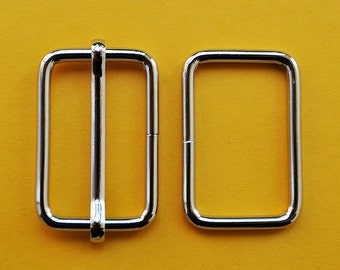 FREE SHIPPING--10 sets, 1 1/4 inch Silver Rectangle Strap Sliders and 1 1/4 inch Silver Rectangle Rings