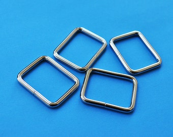FREE SHIPPING--20 of 1 inches Non-Welded Silver/Nickel Rectangle Rings