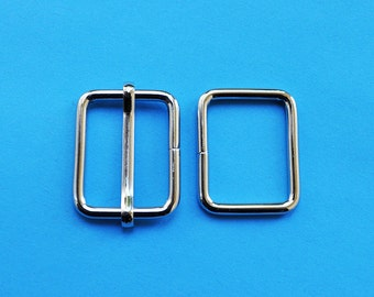 FREE SHIPPING--10 sets, 1 inch Silver Rectangle Strap Sliders and 1 inch Silver Rectangle Rings