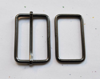 FREE SHIPPING--10 sets, 1.5 inches Gunmetal Rectangle Strap Sliders and 1.5 inches Gunmetal Rectangle Rings