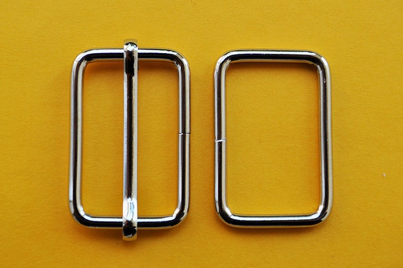 FREE SHIPPING--20 sets, 1 1/4 inch Silver Rectangle Strap Sliders and 1 1/4 inch Silver Rectangle Rings