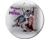 Abyssinian Kitten Visions of Sugar Plums Christmas Ornament