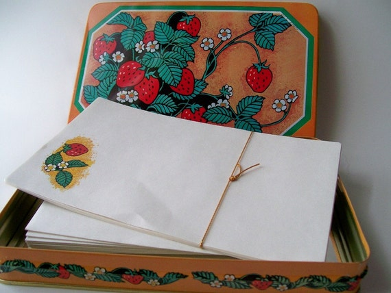 Retro Strawberry Tin with Stationary Set RESERVED FOR kayokoUmazume