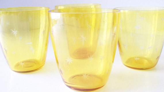 Vintage Yellow Starburst Atomic Era Glassware