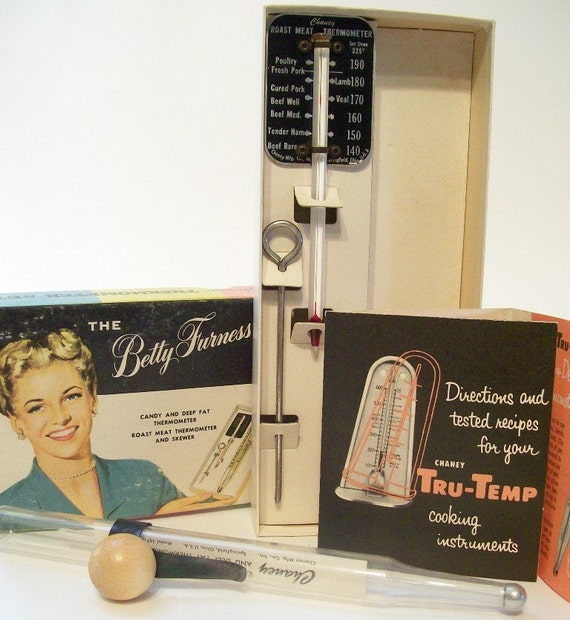 Vintage WestingHouse Deep Fryer and Candy Thermometer Set  has a  Roast Meat Thermometer and Skewer- The Betty Furness, Chaney Tru-Temp - for Roasts, Candies, Jellies, Icings, French Fries, Doughnuts
