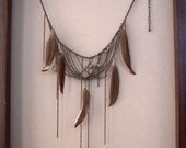 Feather and Bead Chain Choker Necklace
