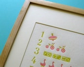 Kids Wall Art Letterpress Counting Poster - Green and Pink