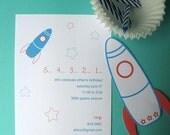 Space Rocket Birthday Party Invitations Printable PDF