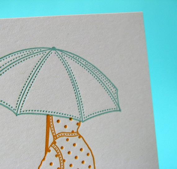 BOGO sale - letterpress card - puddle jumping fun