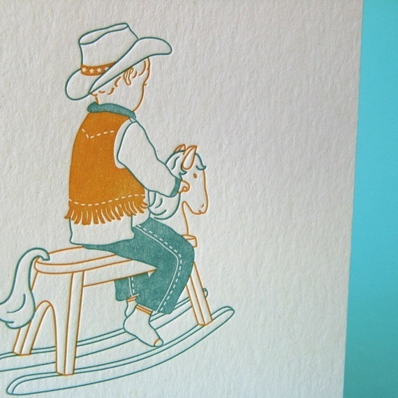 letterpress stationery birthday card printed on recycled paper - baby boy on rocking horse