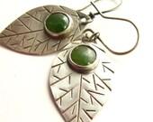 Jade Sterling Silver Leaf Earrings Artisan Metalsmithed Jewelry