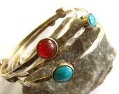 Reserved For P  ---   Bronze, Carnelian And Turquoise Bracelet - Gemstone Bracelets - Artisan Metalsmith Jewelry - Gemstone Bangle Set