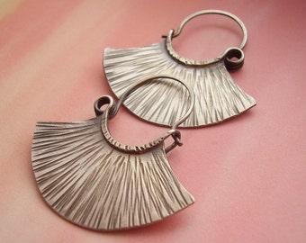 Sterling Silver Hoops, Argentium Earrings, Sterling Silver Earrings, Fan Hoop Earrings, Tribal Inspired Contemporary Earrings Silver Jewelry