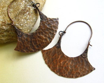 Riveted Earrings, Large Copper Earrings, Artisan Metalsmith Solid Copper Jewelry, Tribal Earrings, Blade Hoop Earrings, Hammered Earrings