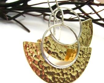 Mixed Metal Earrings, Egyptian Inspired Sun Earrings, Contemporary Sterling Silver Hammered Bronze Earrings, Modern Metalsmith Earrings