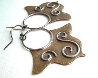 Tribal Earrings, Metalsmith Earrings, Boho Mixed Metal Earring, Ethnic Earrings, Bronze Earrings, Sterling Silver Earrings, Bohemian Jewelry