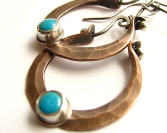 Turquoise Earrings, Sterling Silver And Copper Earrings, Rustic Mixed Metal Hoop Earrings, Turquoise Jewelry,Gemstone And Copper Jewelry