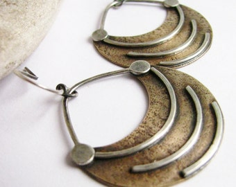 Mixed Metal Earrings, Fertile Crescent Ethnic Earrings, Sterling Silver Earrings, Bronze Earrings, Tribal Earrings, Artisan Jewelry