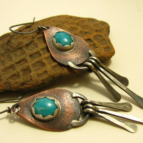 Turquoise, Copper And sterling Silver Aztec Shield Earrings