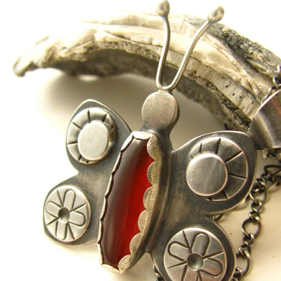 Tribal Butterfly - Sterling Silver And Carnelian Pendant Necklace