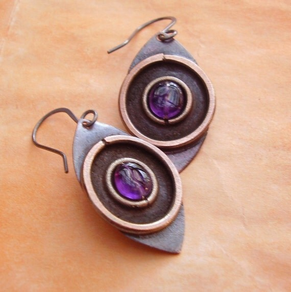 Amethyst Eye, Copper And Silver Earrings