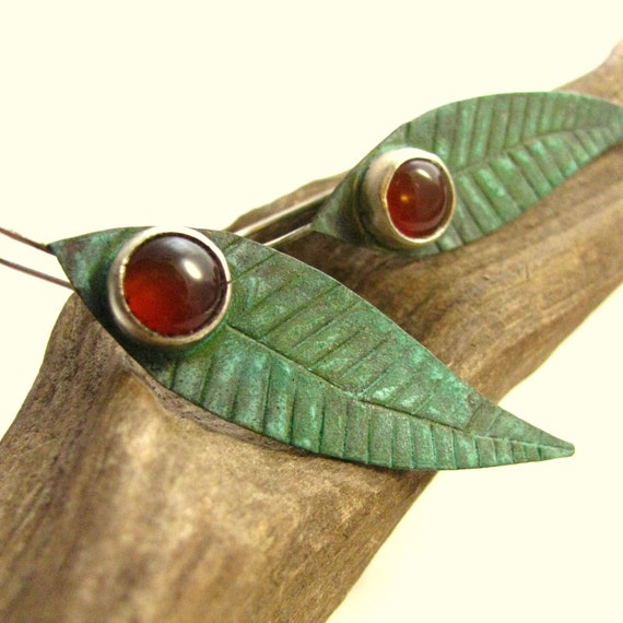 Feather Earrings Verdigris Brass, Sterling Silver And Carnelian Earrings - Mixed Metal Jungle Feathers