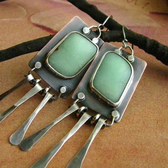 Artisan Earrings - Sterling Silver, Copper And Chrysoprase Earrings - One Of A Kind