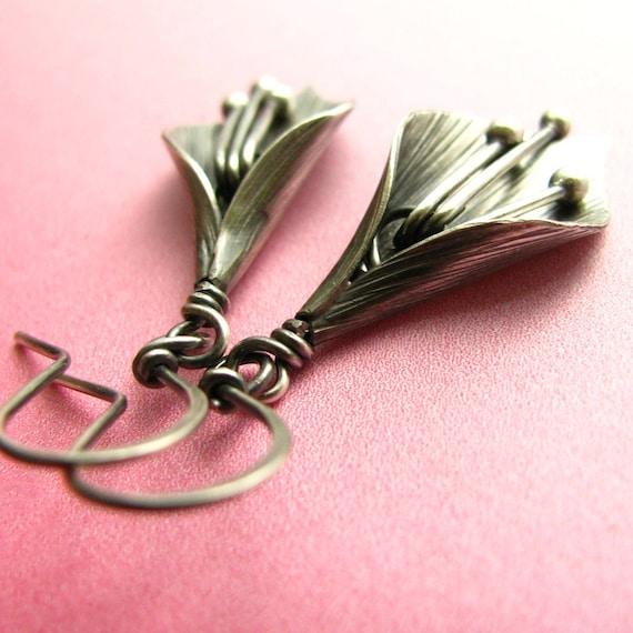Sterling Silver Lily Earrings, Artisan Metalsmith Earrings, Modern Jewelry, Contemporary Earrings, Metal Dangle Silversmith Flower Earrings