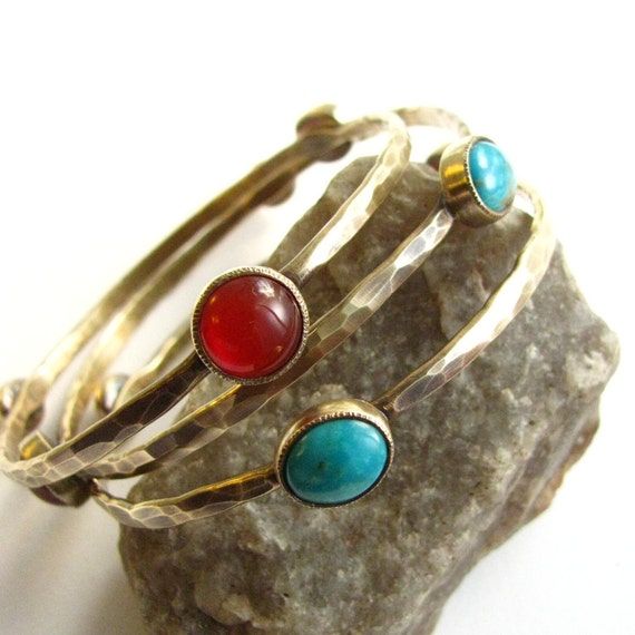 Reserved For P  ---   Bronze, Carnelian And Turquoise Bracelet - Gemstone Bracelets - Artisan Metalsmith Jewelry - Gemstone Bangle Set