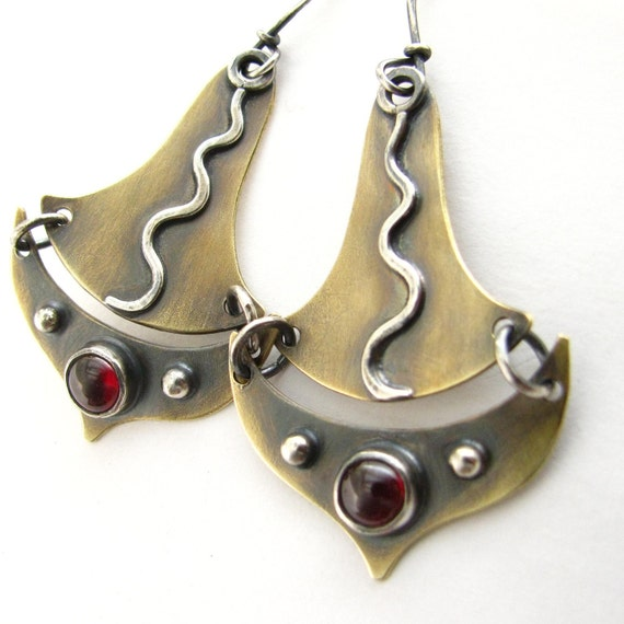 Tribal Temple Dancer Garnet Earrings - Ethnic Sterling Silver Bronze Mixed Metal Earrings - Metalsmithed Jewelry - Exotic Dangle Earring