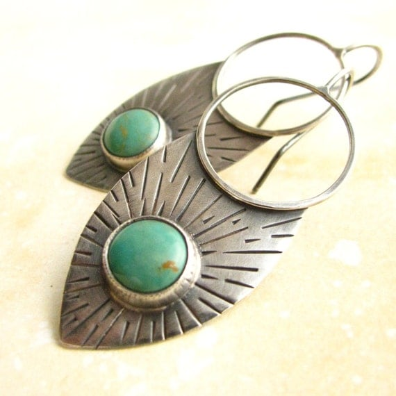 Rustic Southwestern Turquoise Earrings - Large Sterling Silver Tribal Earrings - Turquoise Jewelry