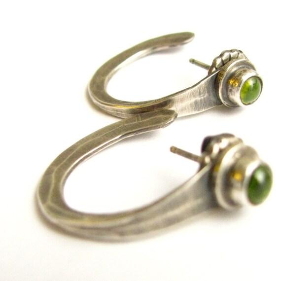 Small Peridot Hoop Earrings - Sterling Silver And Peridot Post Earrings - Metalsmith Gemstone Jewelry